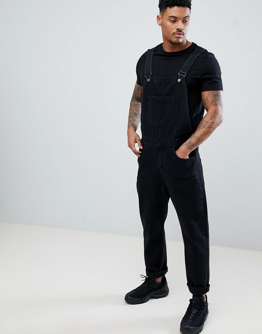 6adea3d03a6c ASOS Skinny Denim Overalls In Black in Black for Men - Lyst