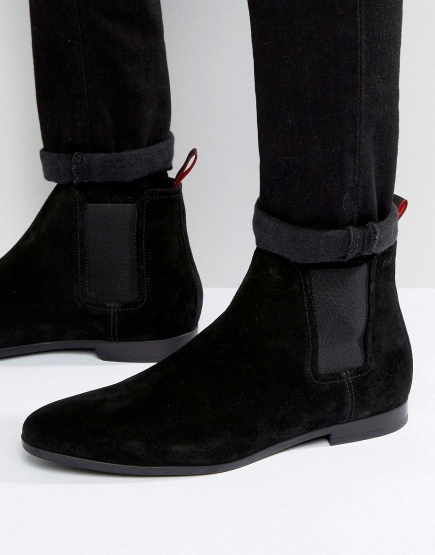 boss by hugo paris suede chelsea boots in black for men lyst. Black Bedroom Furniture Sets. Home Design Ideas