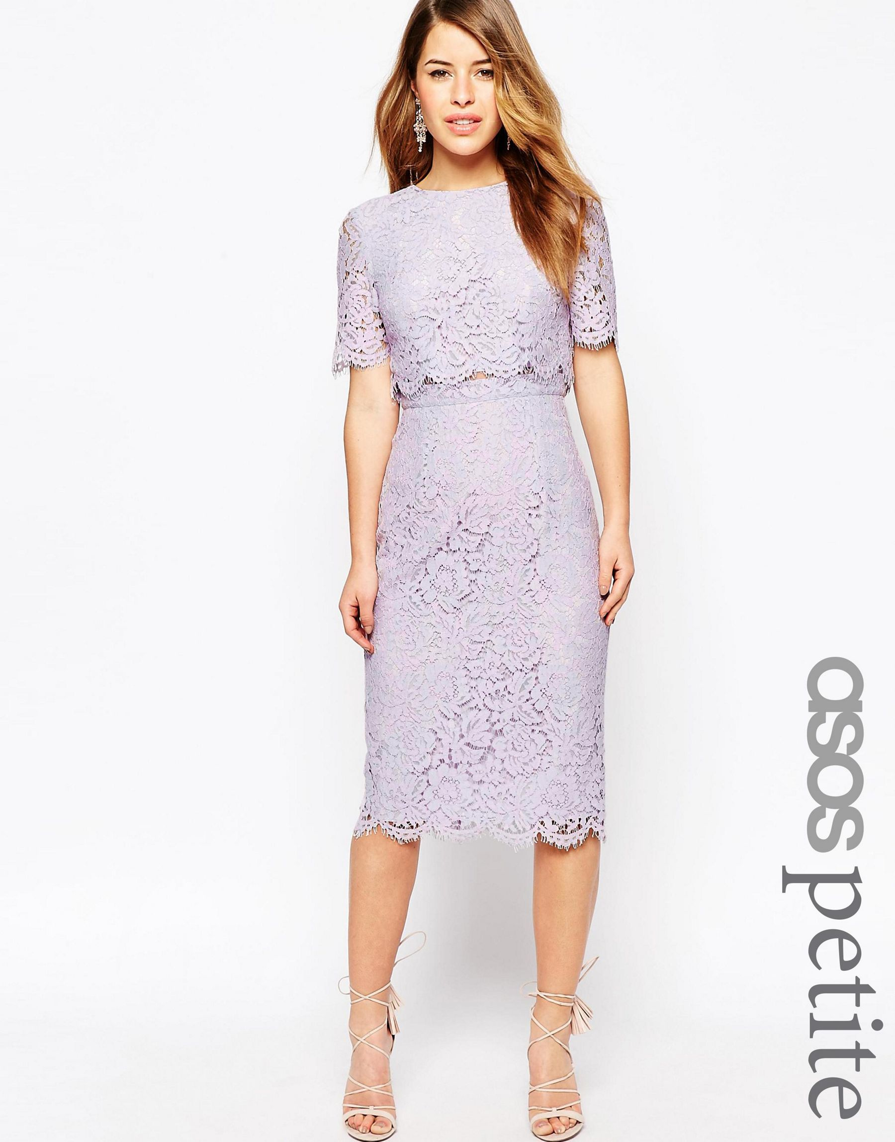 Lyst Asos Lace Crop Top Midi Pencil Dress In Purple