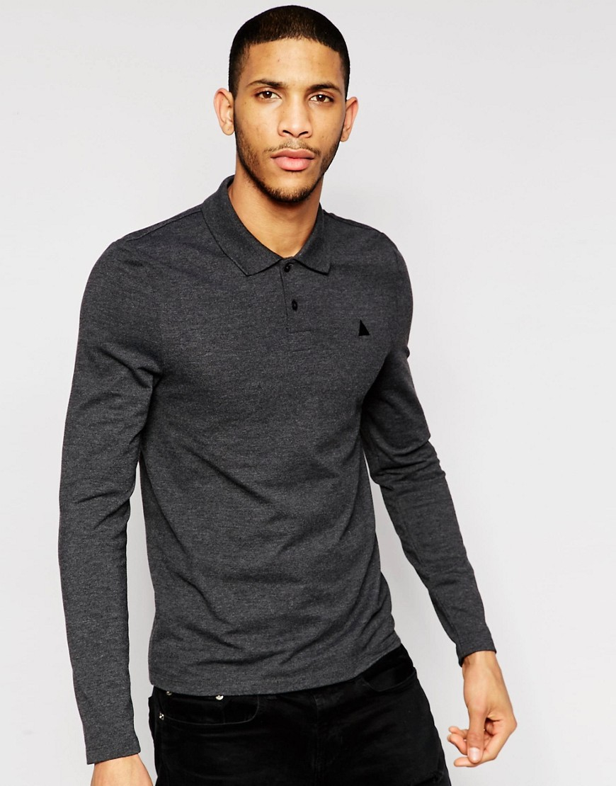 Asos pique long sleeve muscle polo in charcoal in gray for for Mens long sleeve pique polo shirts