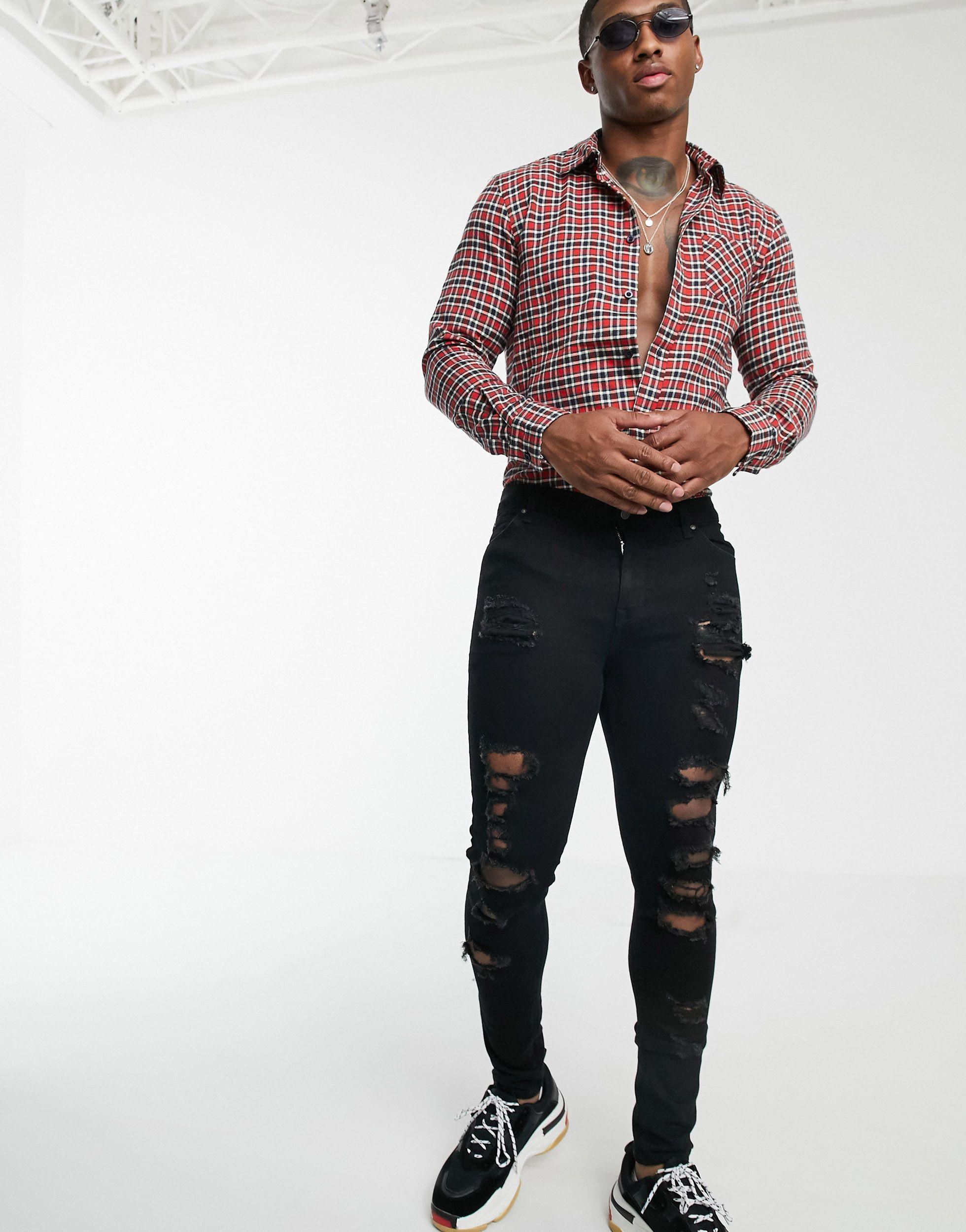 BoohooMAN Denim Geruit Overhemd Met Lange Mouwen in het Rood voor heren