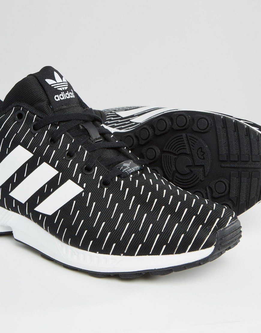 detailing best selling on feet at Adidas Originals Black Zx Flux Trainers S75525