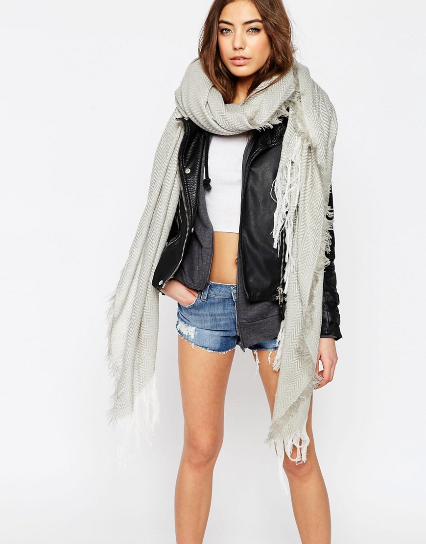 asos oversized chevron lightweight scarf in gray lyst