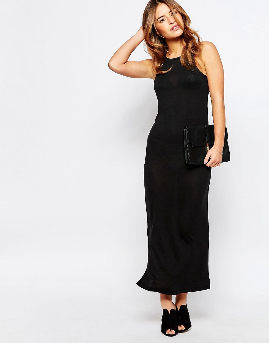 vero moda maxi dress in black lyst. Black Bedroom Furniture Sets. Home Design Ideas