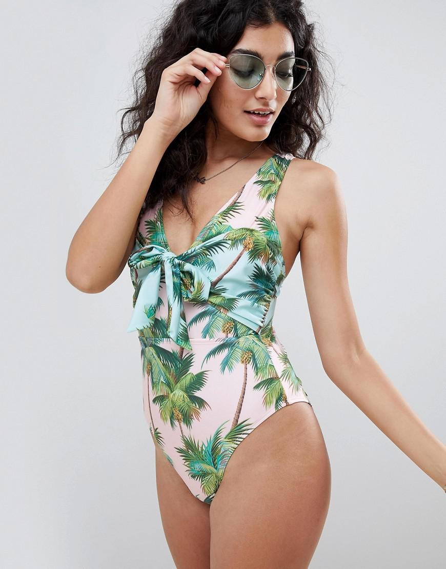 565803146c544 ASOS Tie Front Plunge Swimsuit In Palm Print in Green - Lyst
