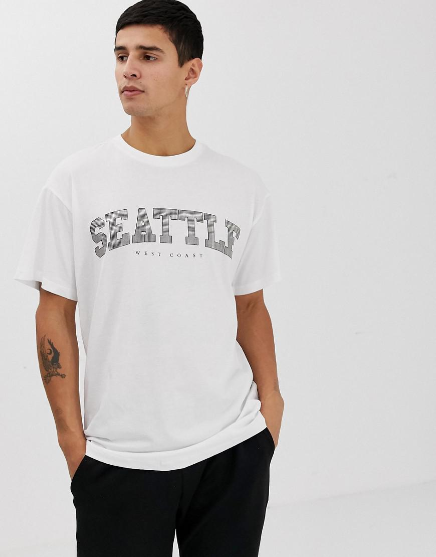 Lyst New Look Seattle Print T Shirt In White In White For Men