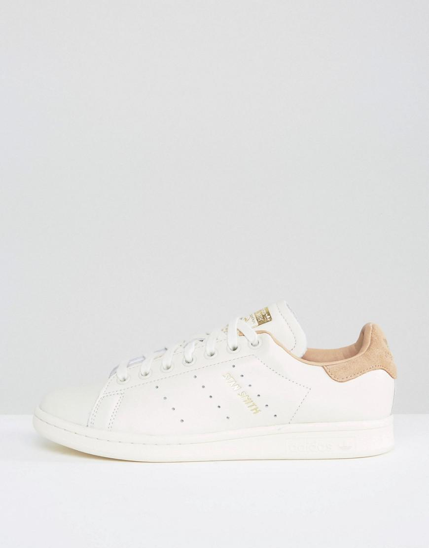 adidas Originals Leather Originals Off White Stan Smith Sneakers With Tan Trim