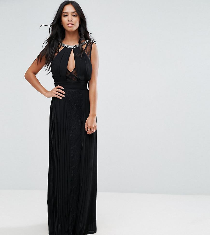 9dc515ee443 TFNC London. Women s Black High Neck Embellished Maxi Dress With Lace Insert