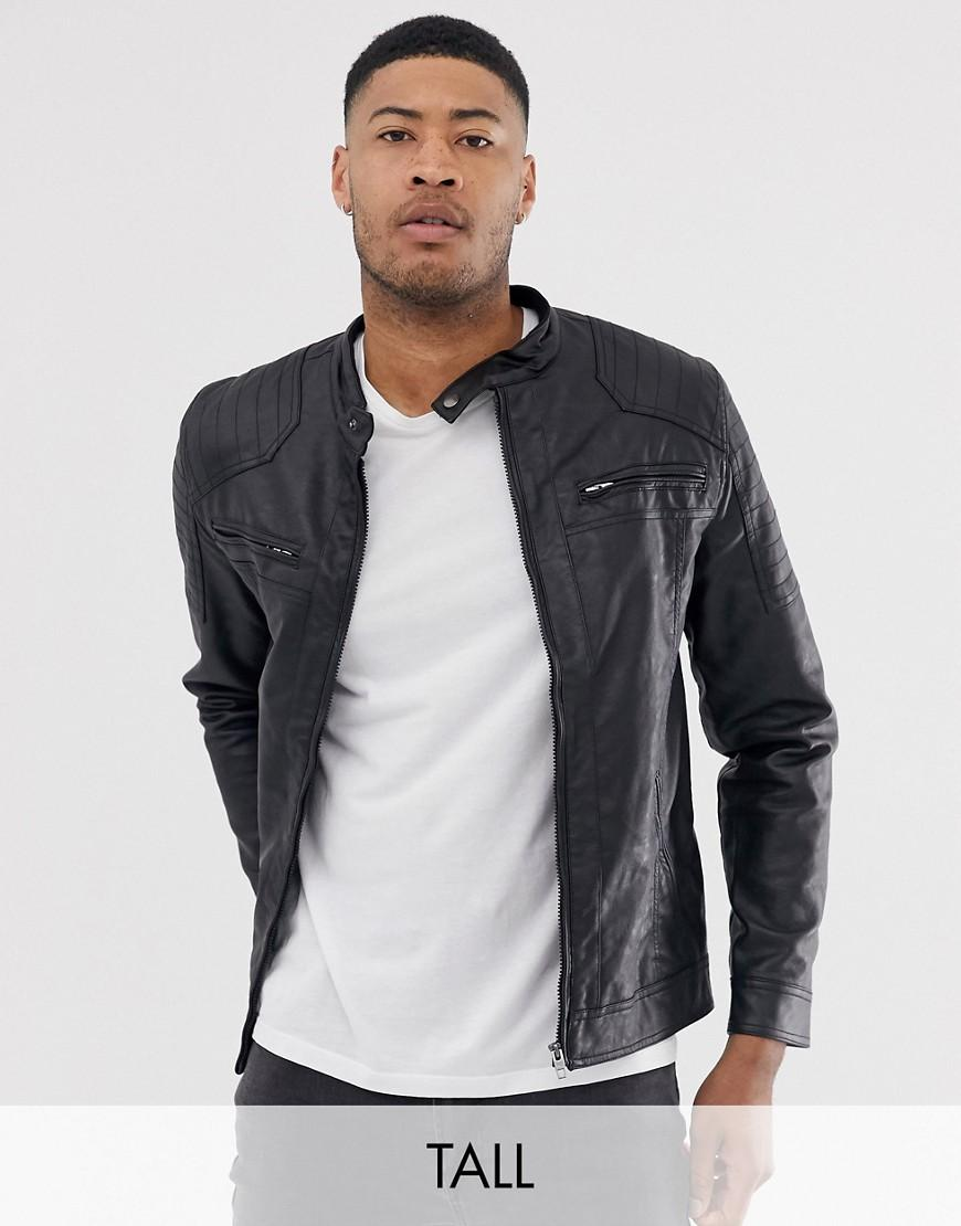 dbbe39872 French Connection Tall Two Pocket Faux Leather Biker Jacket in Black ...