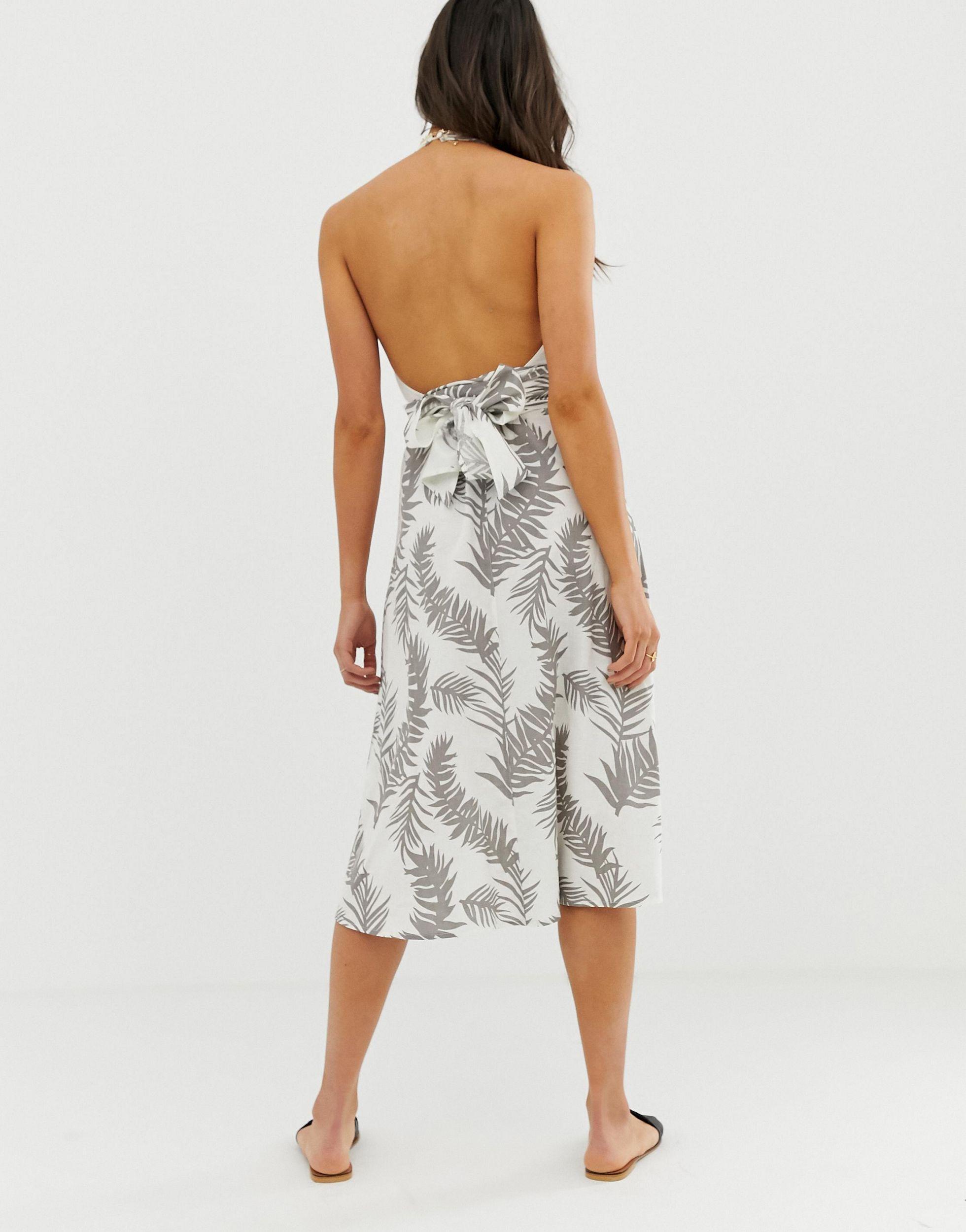 ASOS DESIGN Tall - Robe d'été cache-cœur dos nu mi-longue imprimé tropical en Coton ASOS