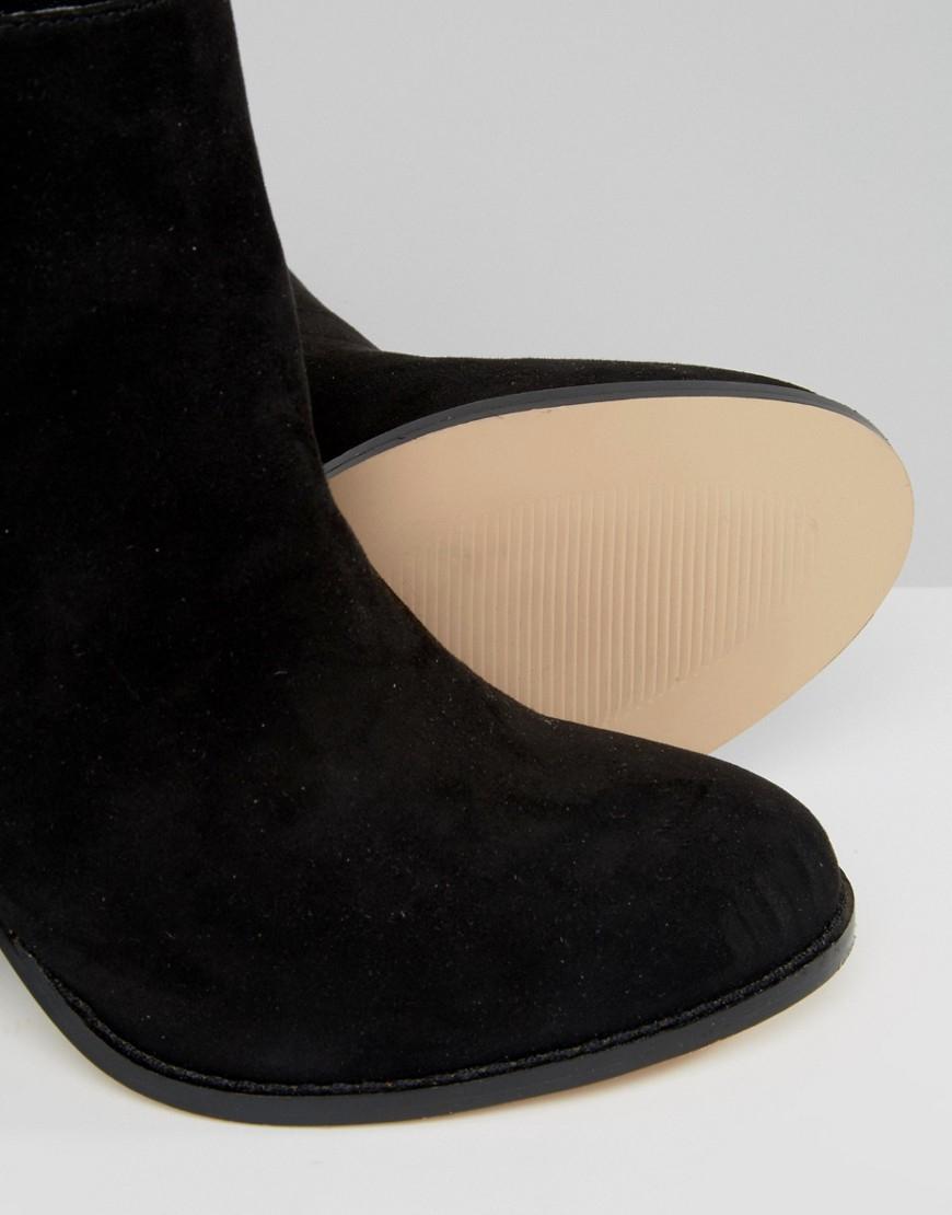 Faith Suede Belinda Zip Heeled Ankle Boots in Black