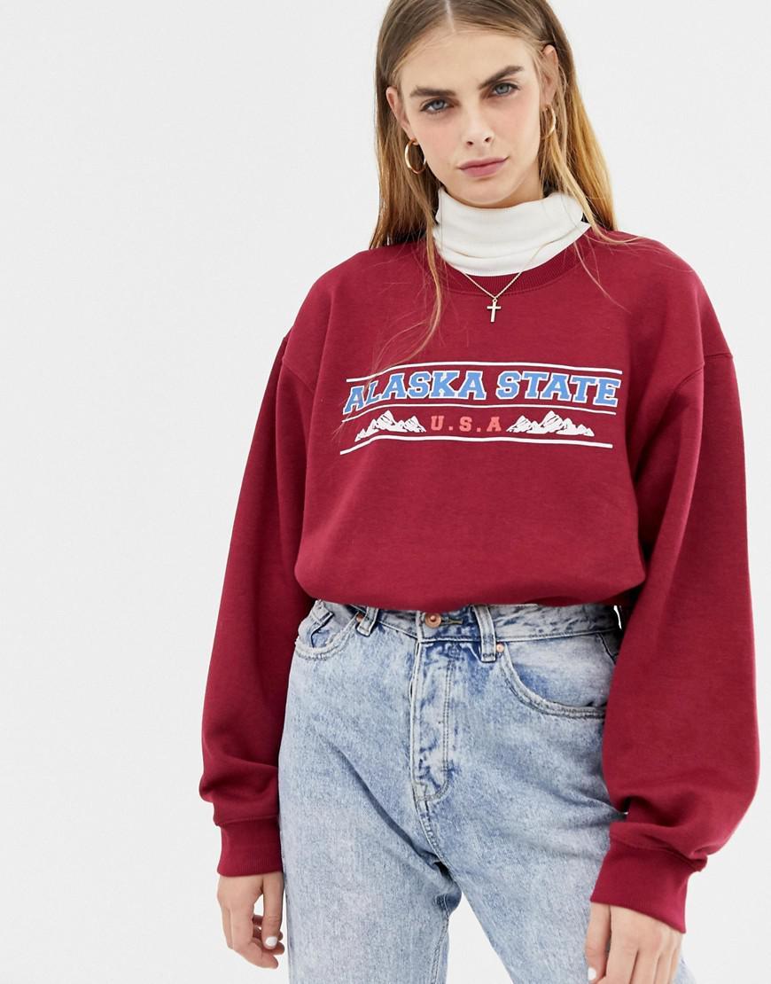 255820dd81fc Lyst - Daisy Street Boyfriend Sweatshirt With Vintage Alaska State ...