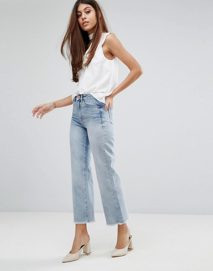 Warehouse Denim Bleached Cropped Flare Jeans in Blue
