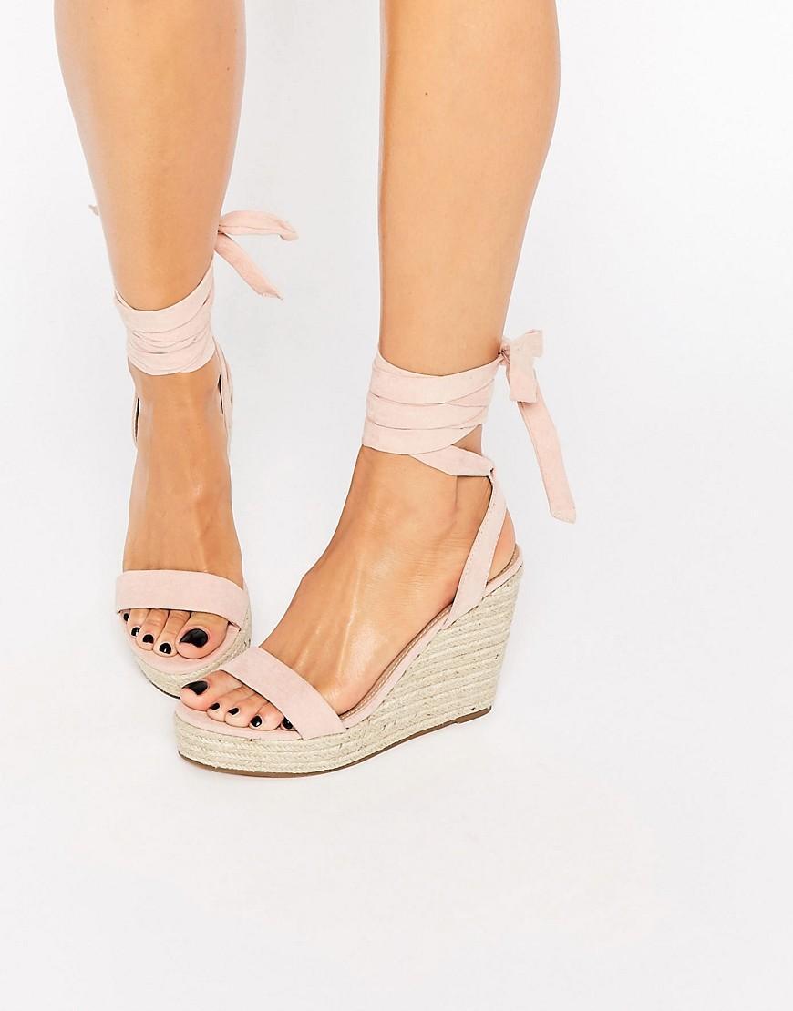 Talent Tie Leg Wedge Sandals in Pink
