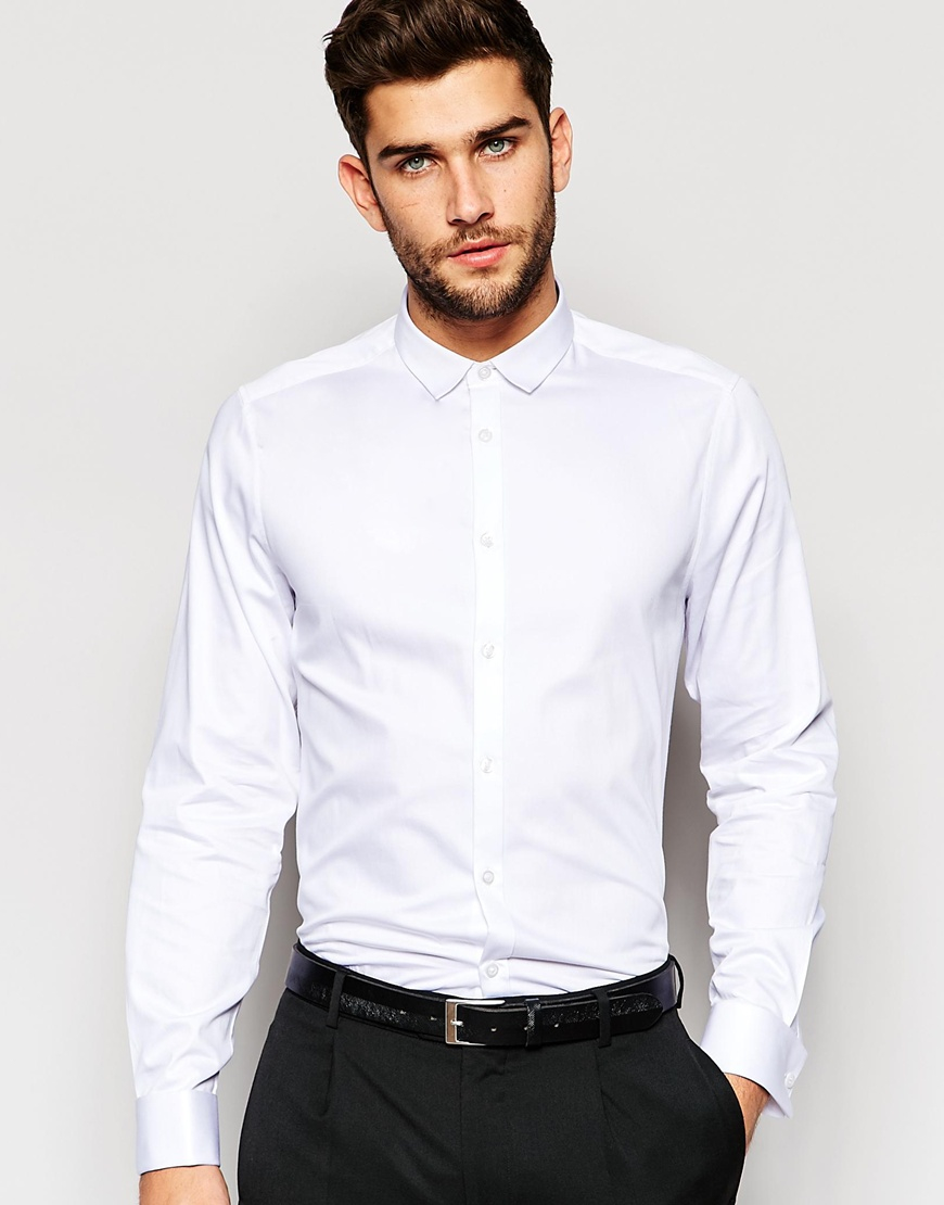 Lyst asos regular fit egyptian cotton shirt with double for Mens egyptian cotton dress shirts