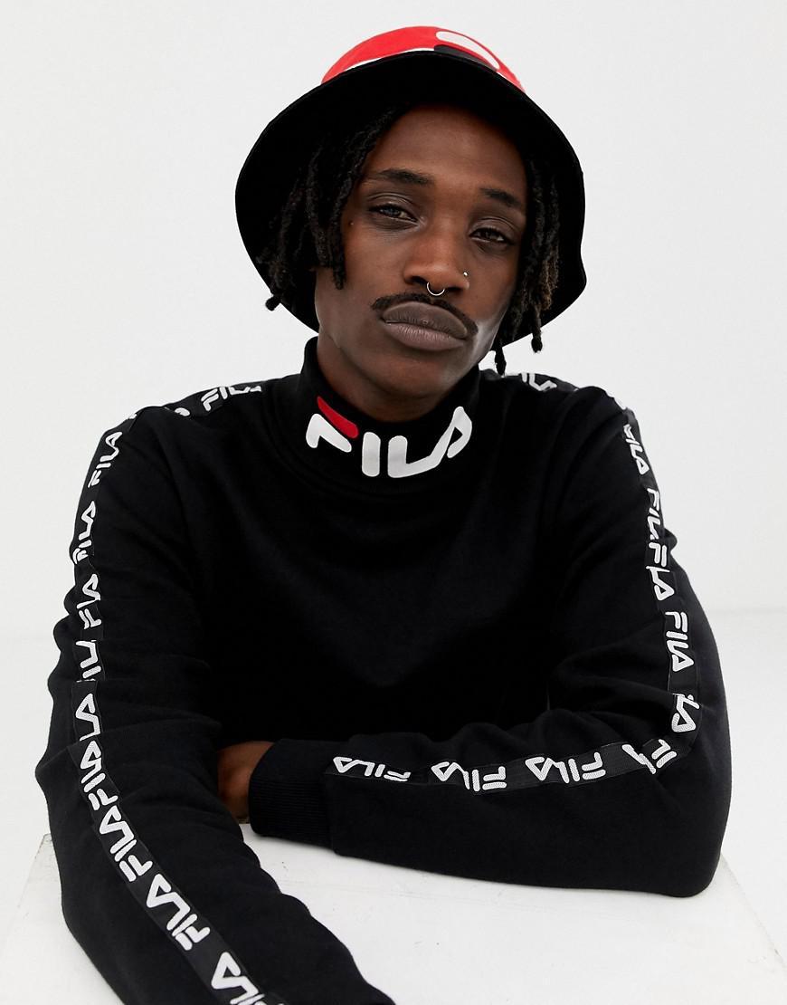 2fc3a08c131a Fila Black Line Drey Logo Turtleneck Sweatshirt With Taping In Black ...