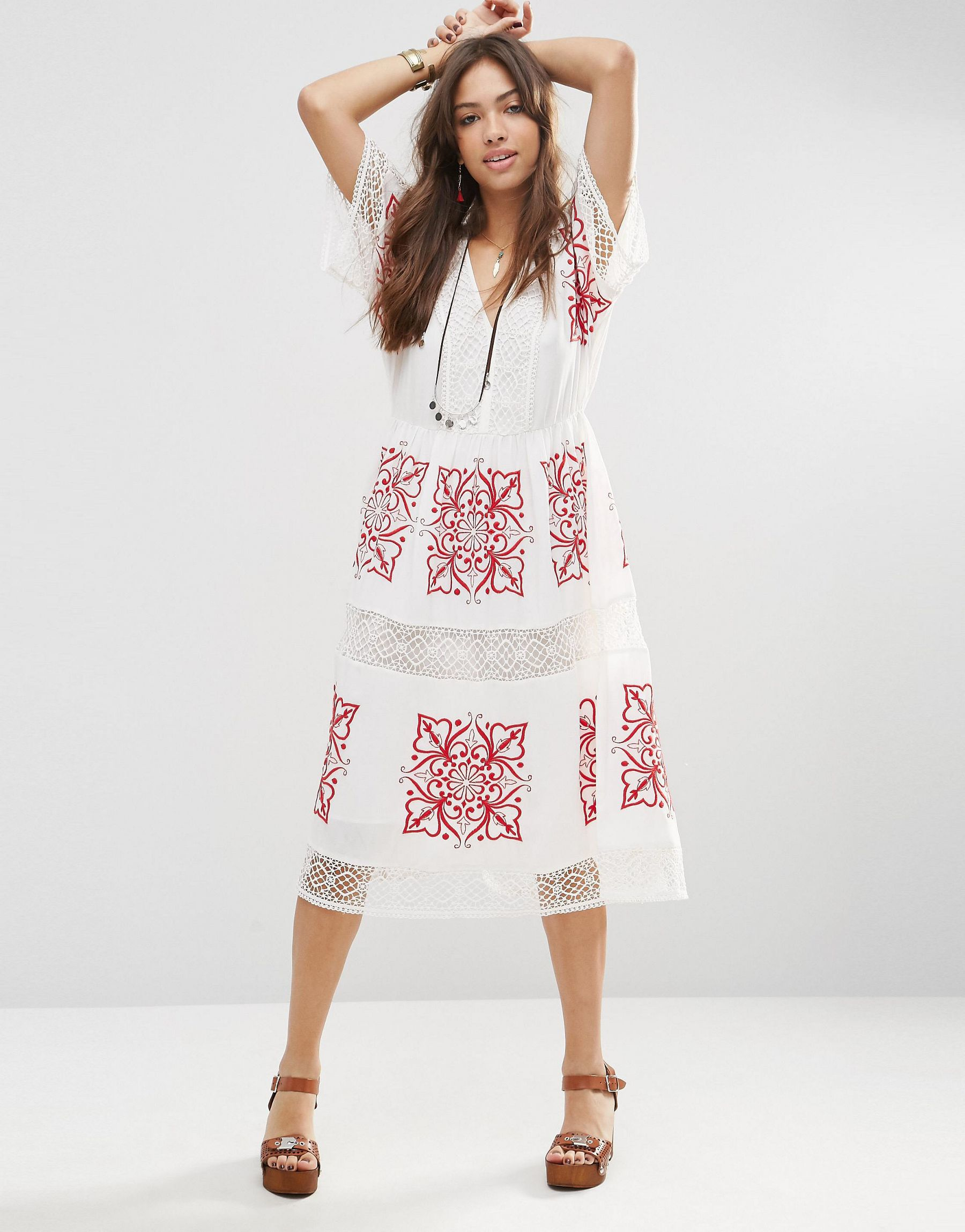 Asos premium cutwork midi dress with red embroidery in