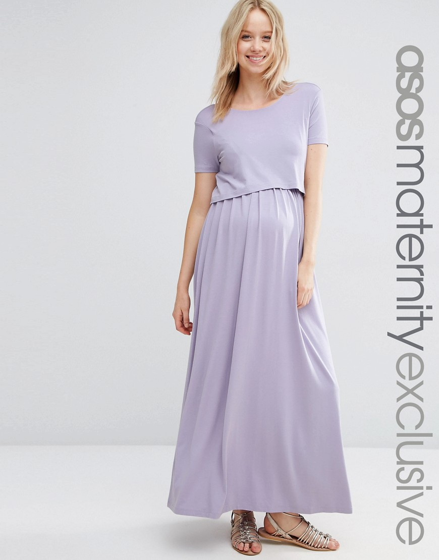 Asos Nursing Double Layer Maxi Dress In Purple (Lilac) | Lyst