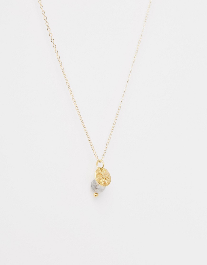 Mirabelle Facetted Grey Quartz Necklace On 45cm Gold Plated Chain in Metallic