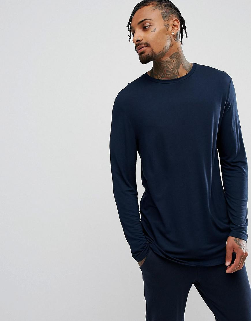 Low Price Online 2018 Discount Longline Long Sleeve T-Shirt In Drape Viscose Fabric In Burgundy - Oxblood red Asos Online Cheap Fast Express N5Pnlwi5