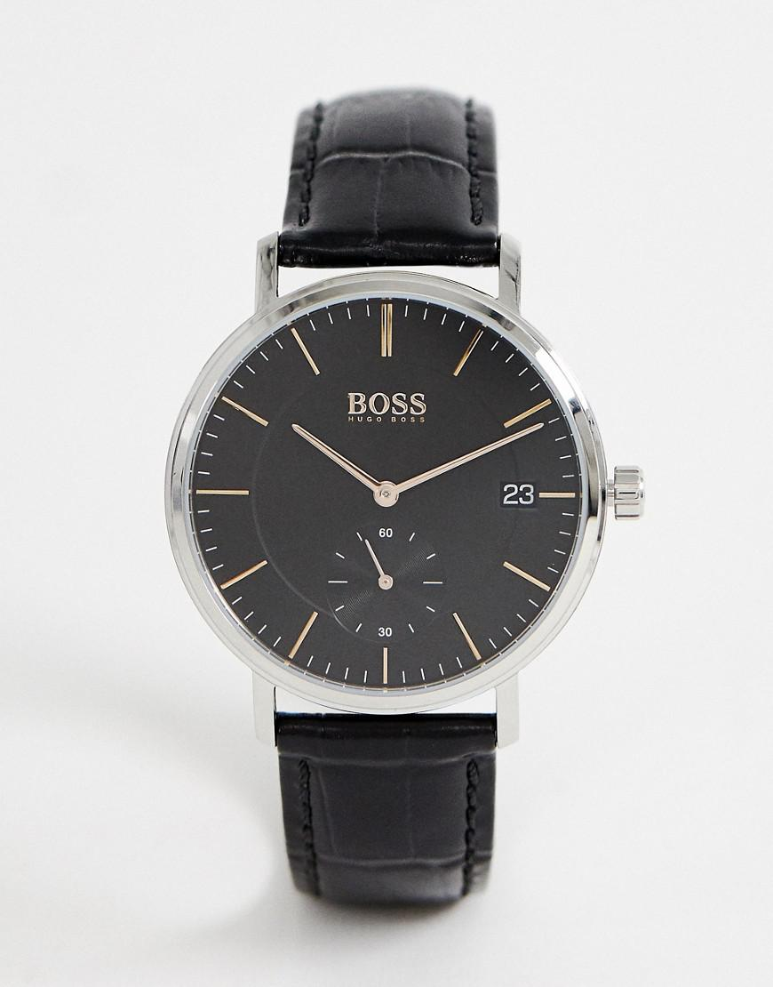 07d850807e Lyst - BOSS 1513638 Corporal Leather Watch in Black for Men
