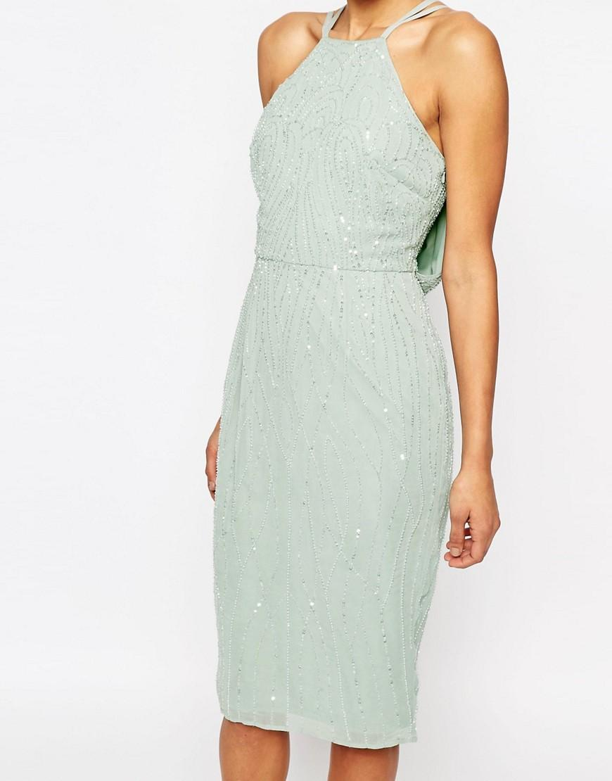 Asos wedding embellished floral drape back pencil midi dress - Gallery Previously Sold At Asos Women S Pencil Dresses