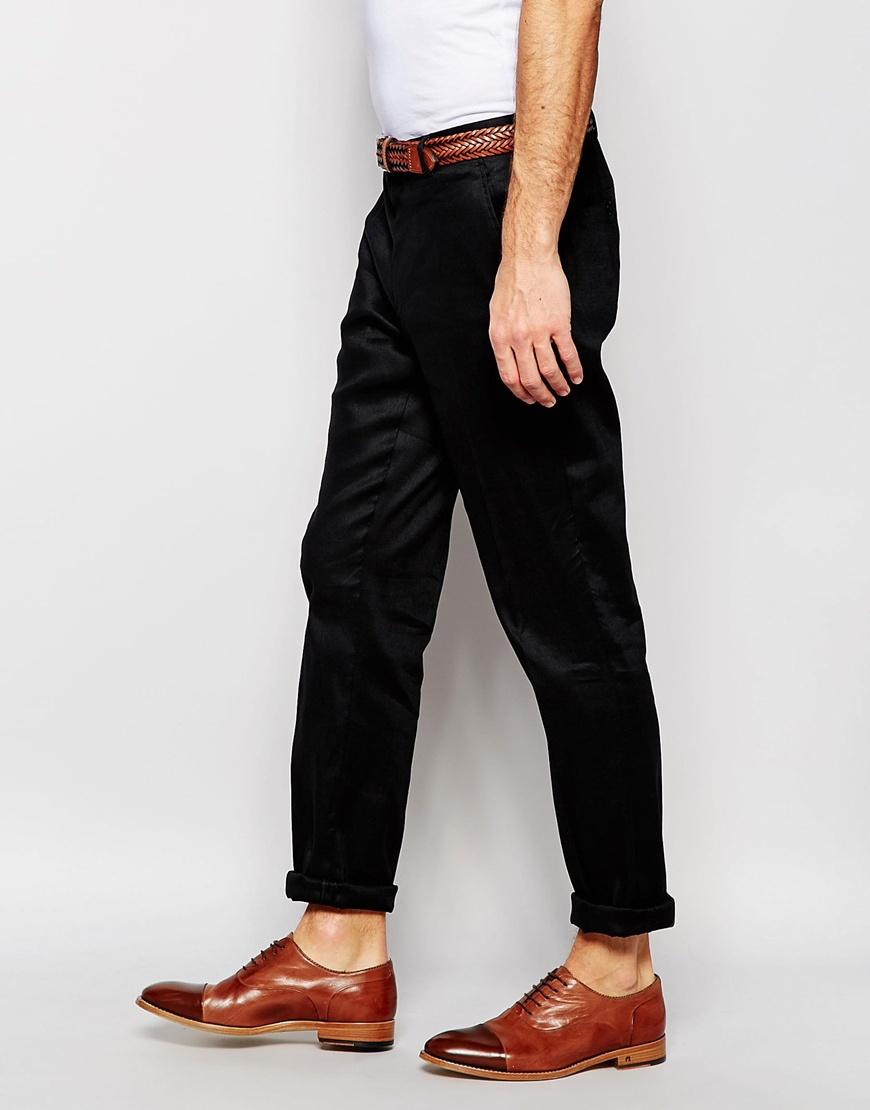 Lyst - Asos Smart Skinny Pants In Black Linen in Black for Men