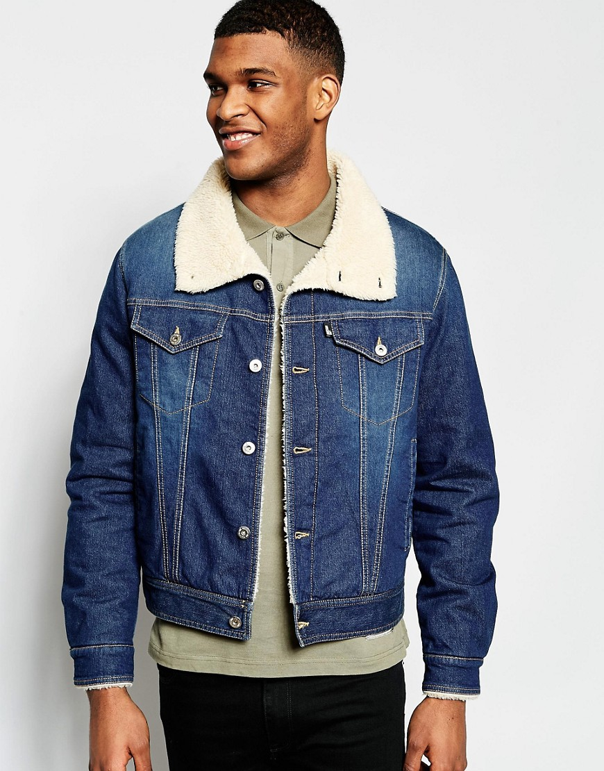 love moschino denim jacket shearling collar in blue for. Black Bedroom Furniture Sets. Home Design Ideas