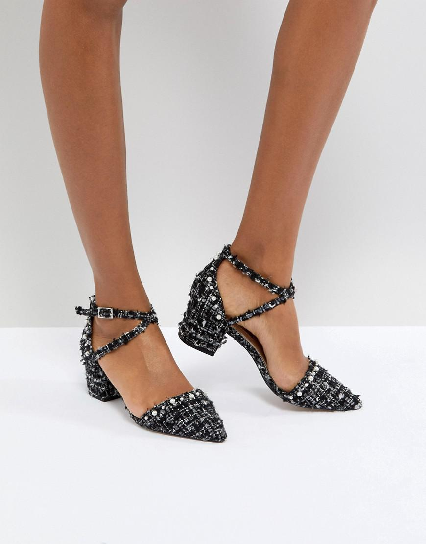29c9887bbc3 Miss Kg Black Ava Studded Boucle Heeled Shoes
