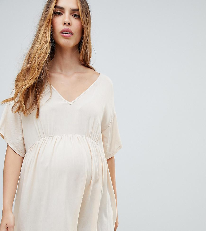 be77a912821aed Lyst - Asos Asos Design Maternity V Neck Tee In Crinkle in Natural