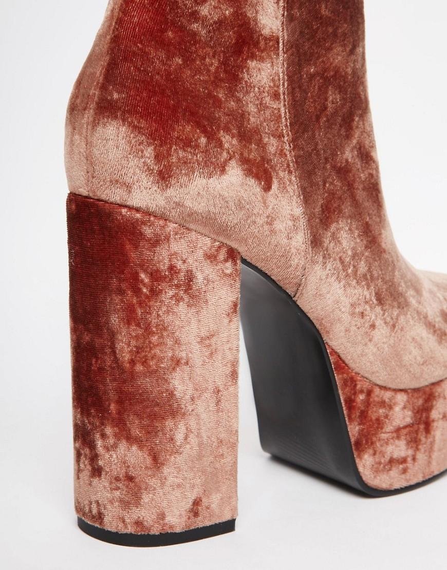 ASOS Velvet Ellen Platform Ankle Boots - Orange