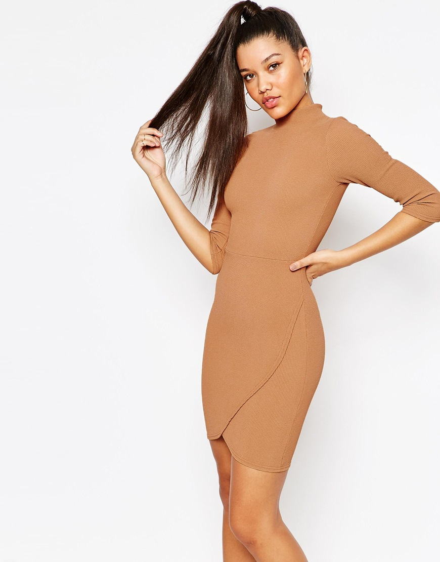 Missguided High Neck Textured Wrap Dress In Brown Camel