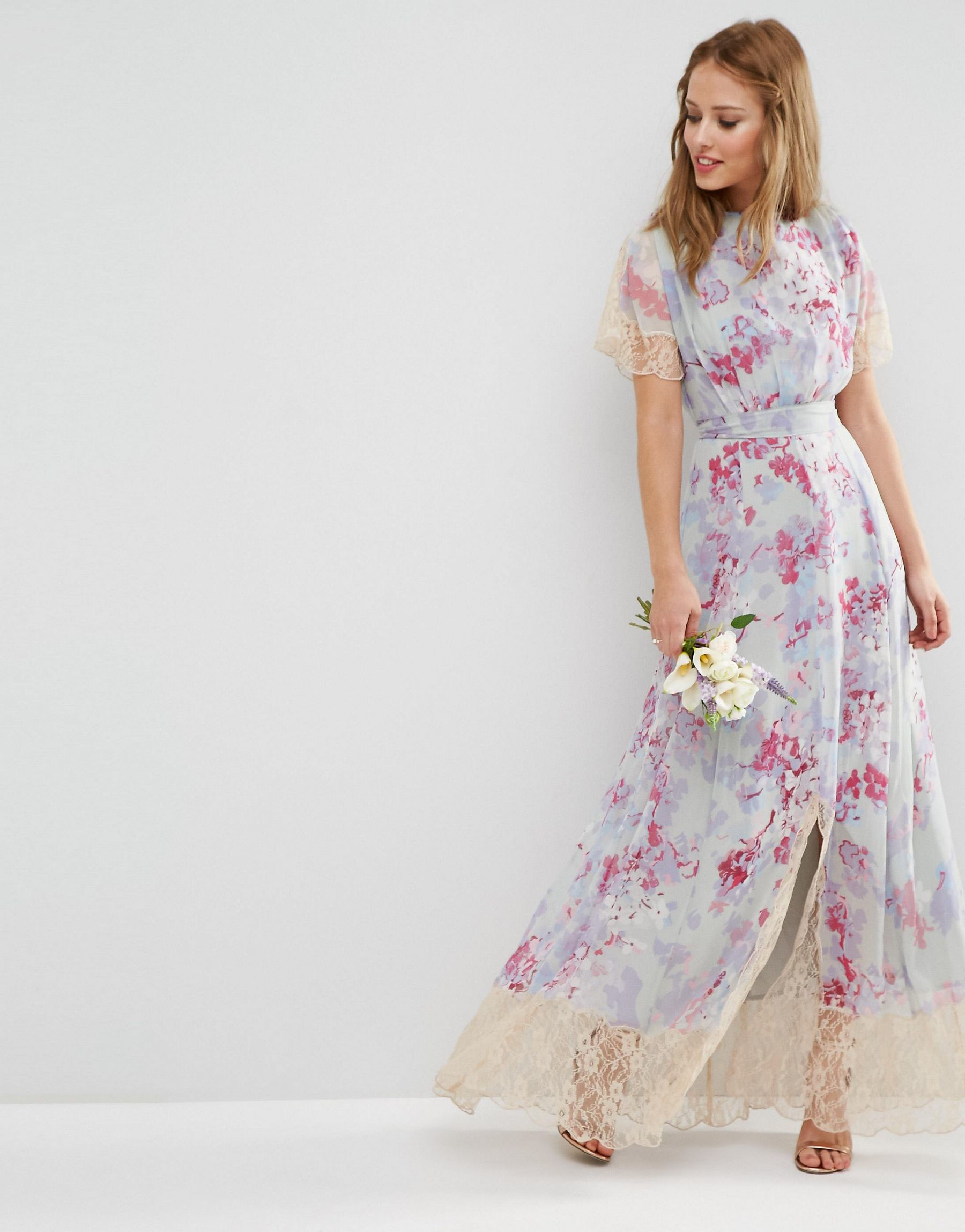 Asos wedding maxi dress with lace detail in print in for Lace maxi wedding dress