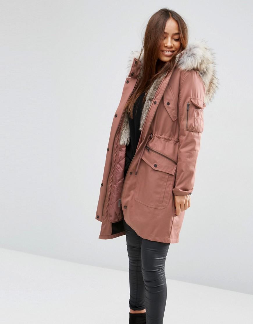 Asos Parka With Detachable Faux Fur Liner in Multicolor