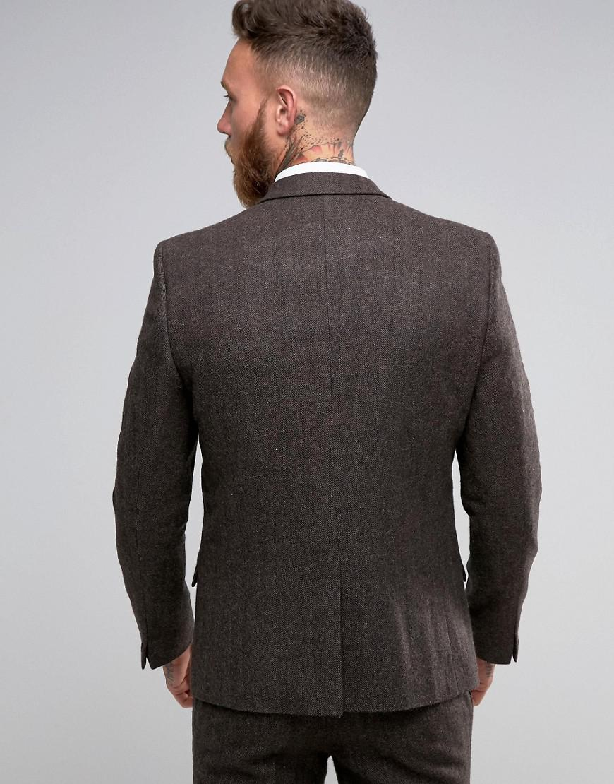 ASOS Wool Slim Suit Jacket In Brown Herringbone for Men