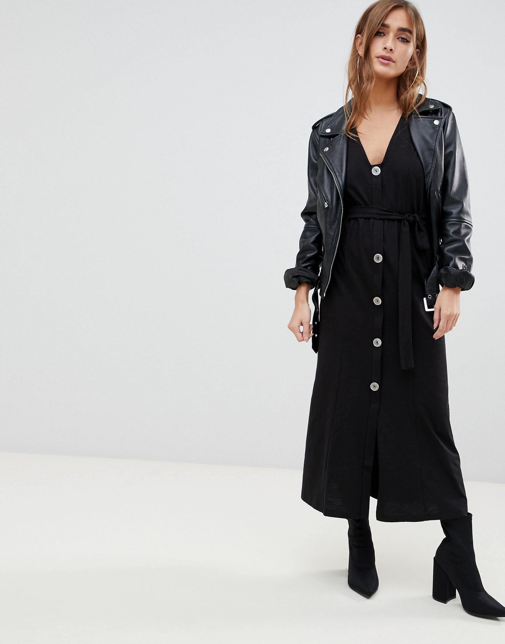 ASOS DESIGN Petite - Robe longue avec boutons imitation coquillage Jean ASOS en coloris Noir