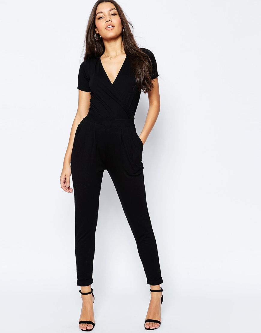 Asos Wrap Front Jersey Jumpsuit With Short Sleeve in Black | Lyst
