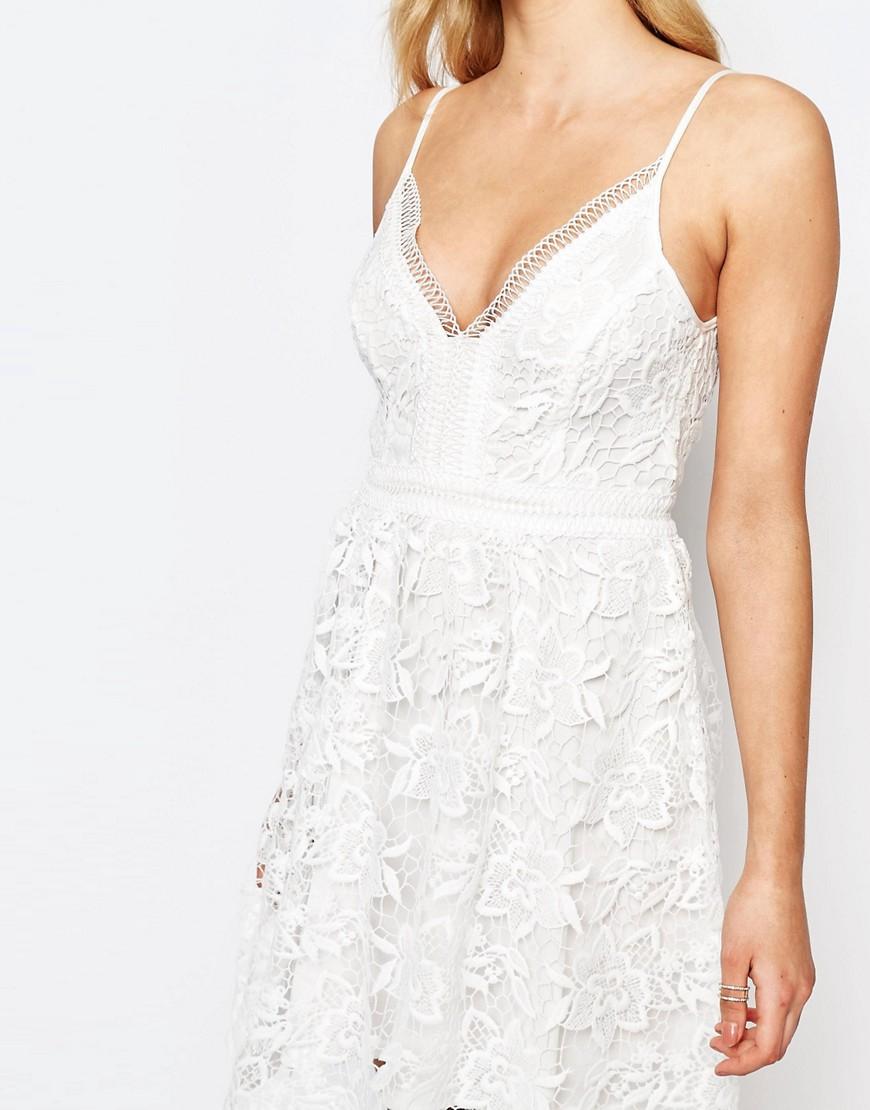 fce2381a04 Lipsy Michelle Keegan Loves Allover Crochet Lace Prom Skater Dress in White  - Lyst