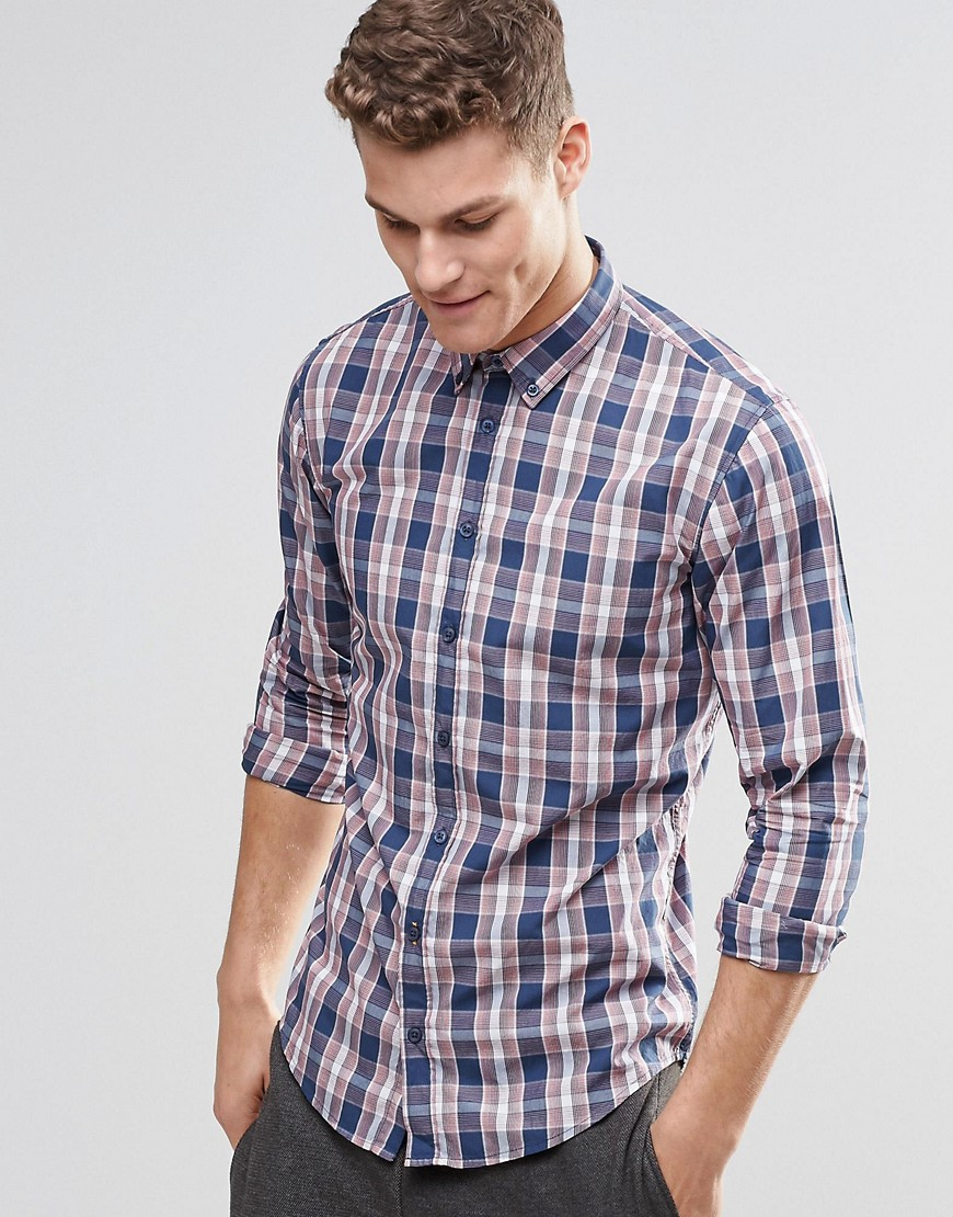 Boss orange shirt with red check slim fit in red for men for Slim fit check shirt