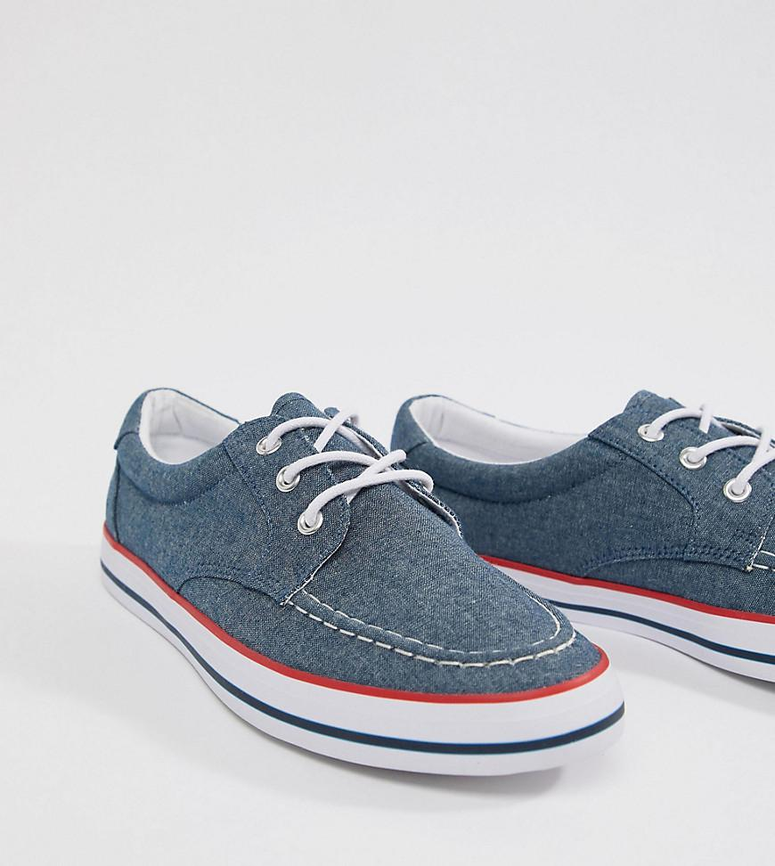ASOS DESIGN boat shoes in blue chambray with red and navy detail clearance fashionable cheap the cheapest 91odgV