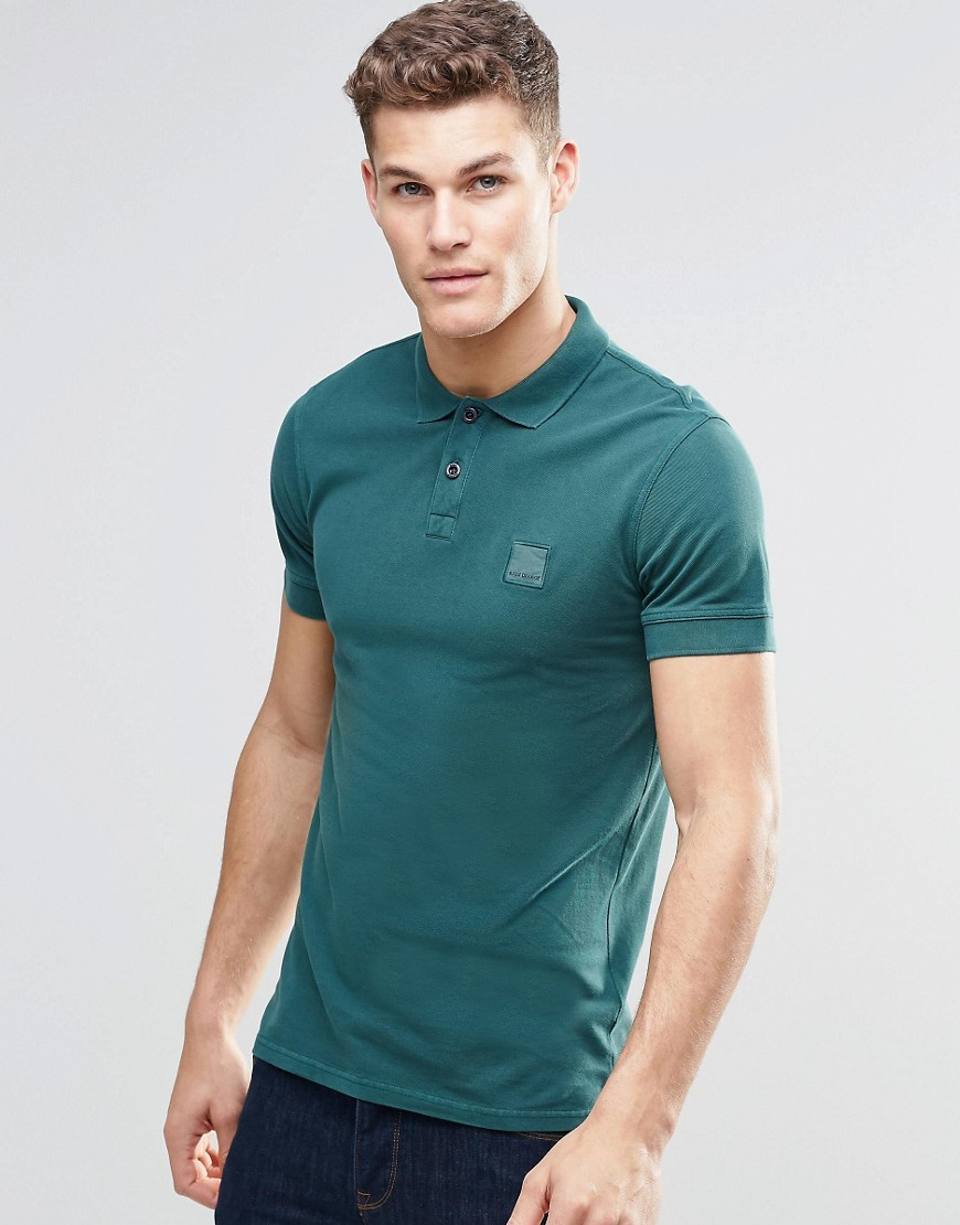 Lyst boss orange polo shirt with logo in slim fit green for Orange polo shirt mens