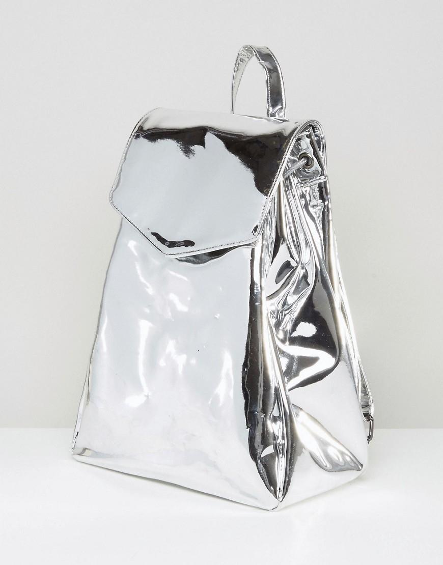ASOS Leather Metallic High Shine Backpack