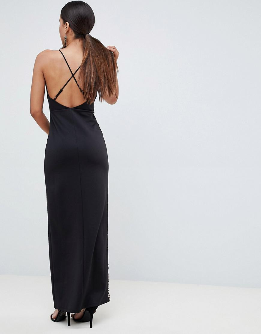 c018eb9821656d Lyst - ASOS Sequin Thigh Split Maxi Dress in Black