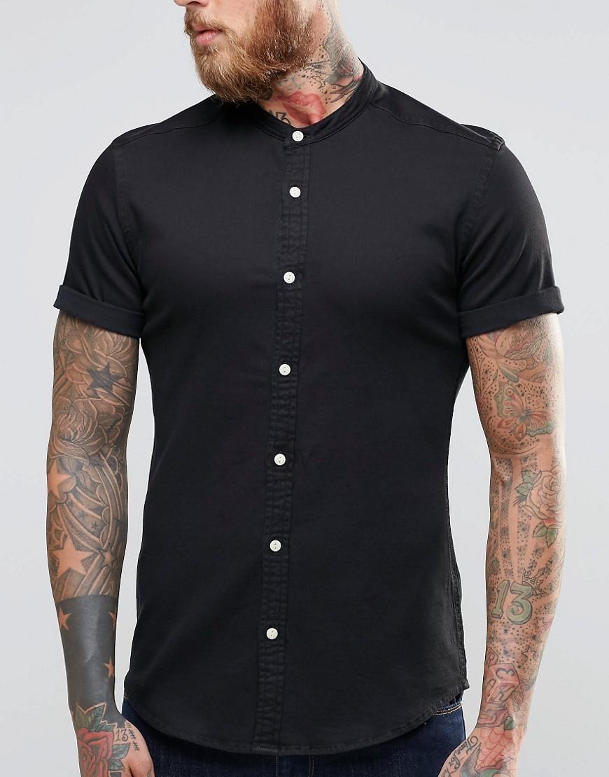 Asos skinny denim shirt with grandad collar in black in Mens grandad collar shirt