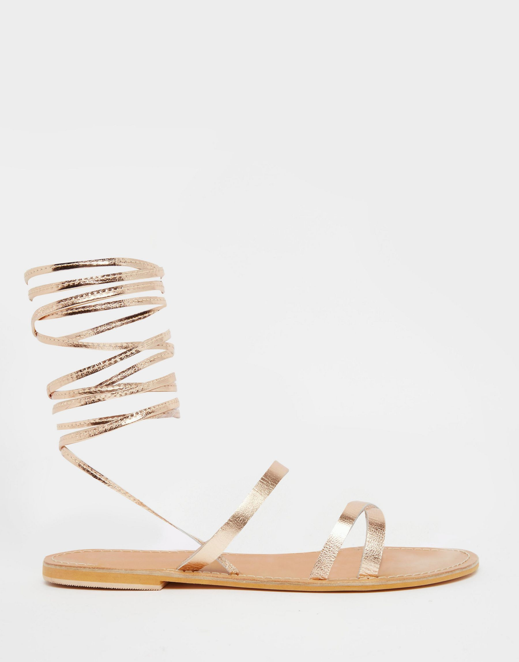 07dd4a149627 Lyst - Asos Finder s Keepers Wide Fit Leather Lace Up Sandals in ...