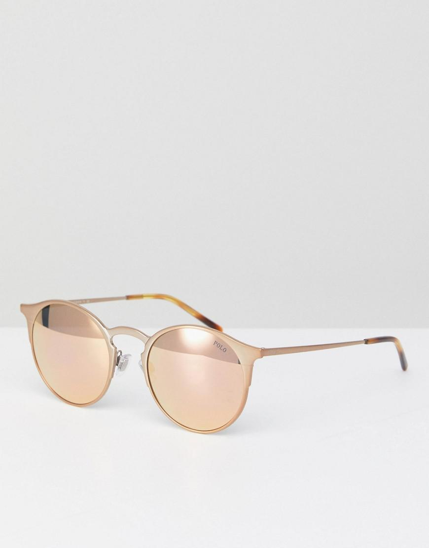 a6150ea82 Polo Ralph Lauren Round Sunglasses In Rose Gold 51mm in Metallic for ...