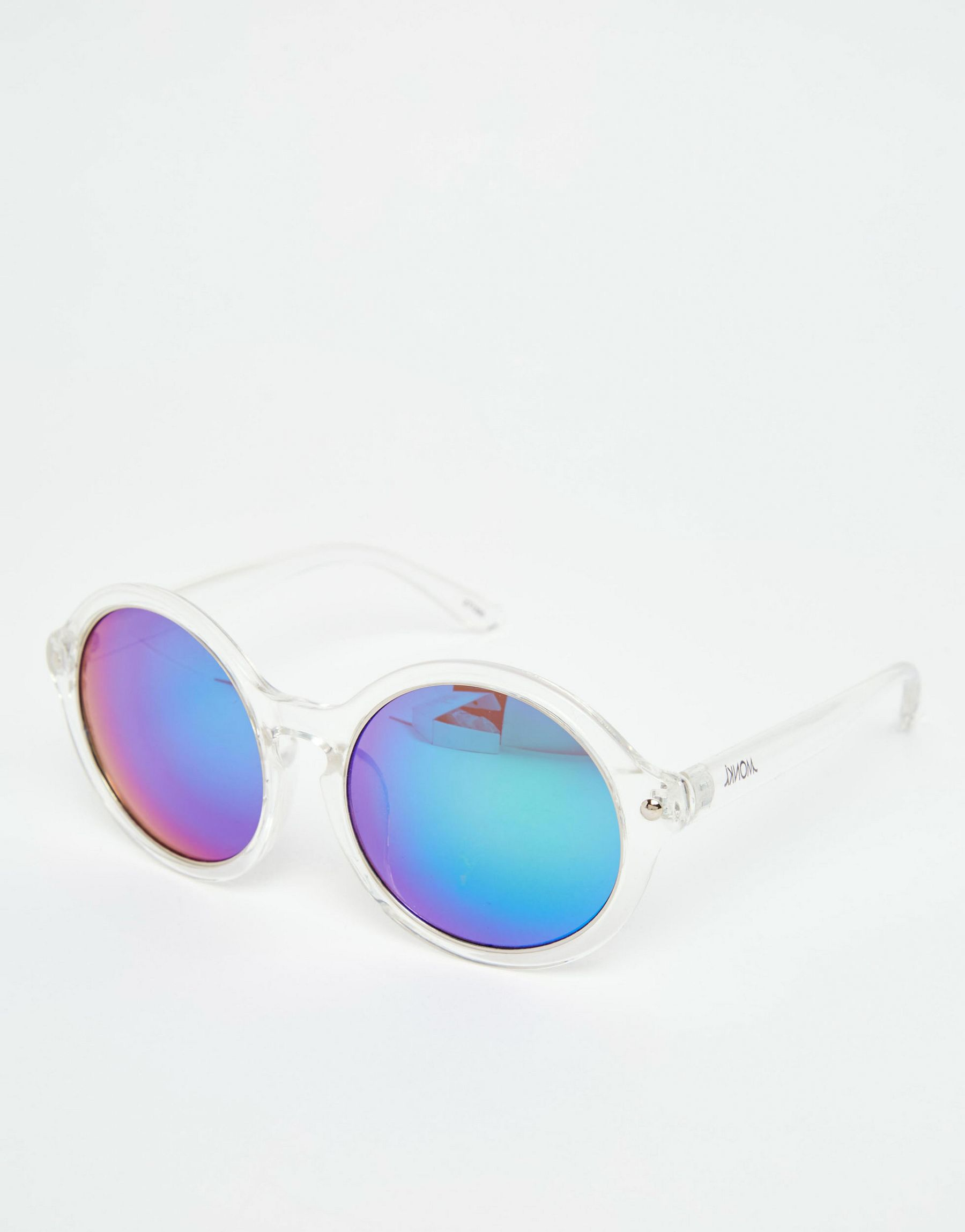 Monki Round Sunglasses With Reflective Lenses - White in ...