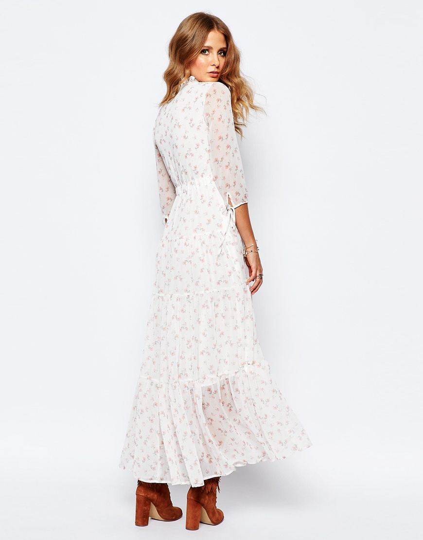 Millie Mackintosh Synthetic Victoriana Ditsy Print Maxi Dress in Cream (Natural)