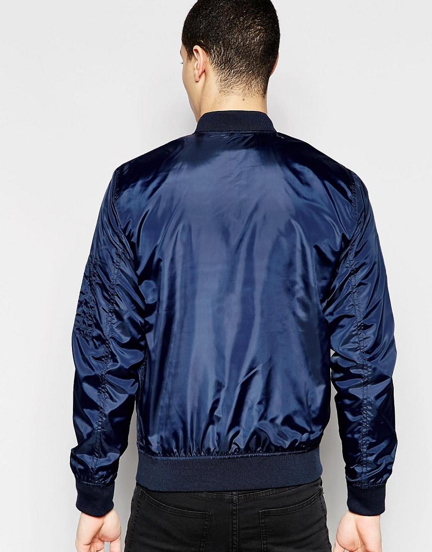 jack jones lightweight bomber jacket in blue for men lyst. Black Bedroom Furniture Sets. Home Design Ideas