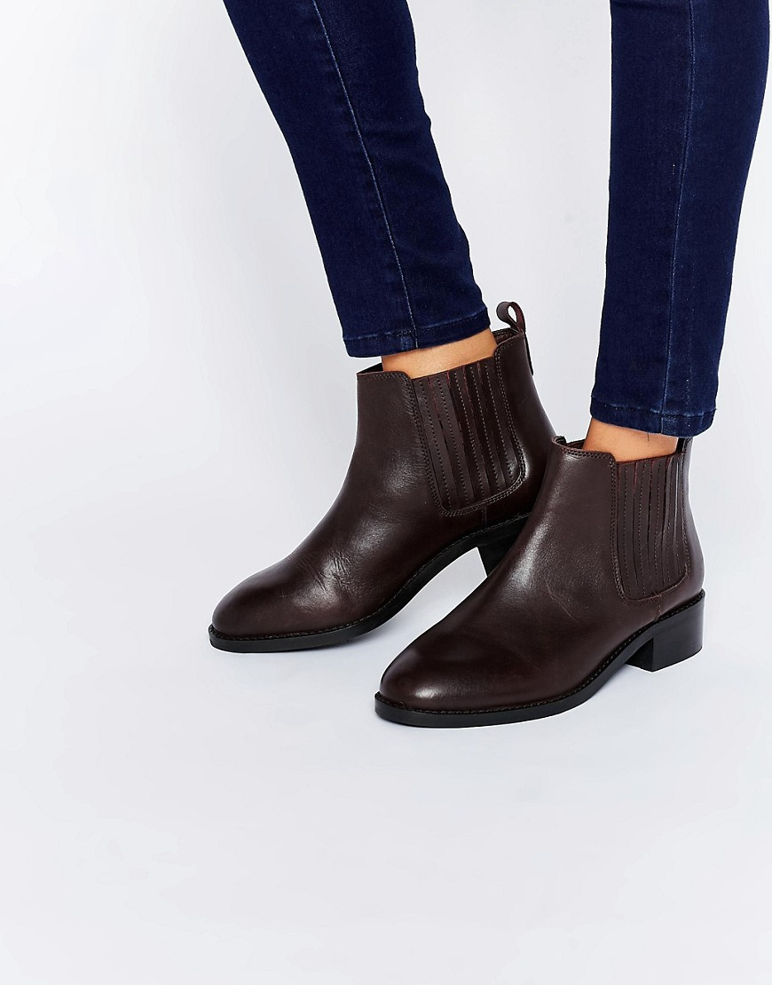 asos about time wide fit leather chelsea boots in black